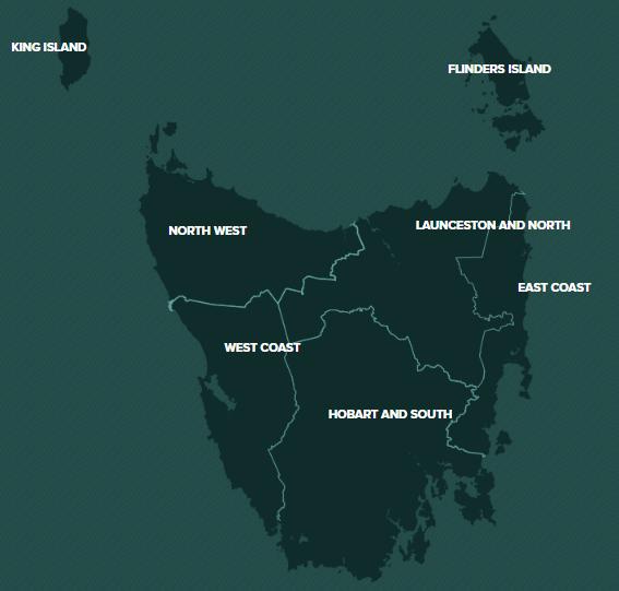 Tasmania Map by discovertasmania.com.au